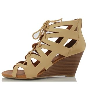 Shoes - ROCIO Natural Cutout Lace Up Cork Mid Wedge Sandal